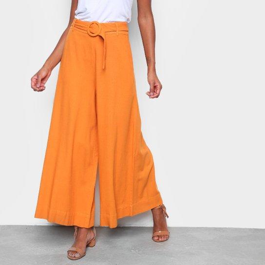 Calça Pantalona Farm Fivela Feminina - Amarelo