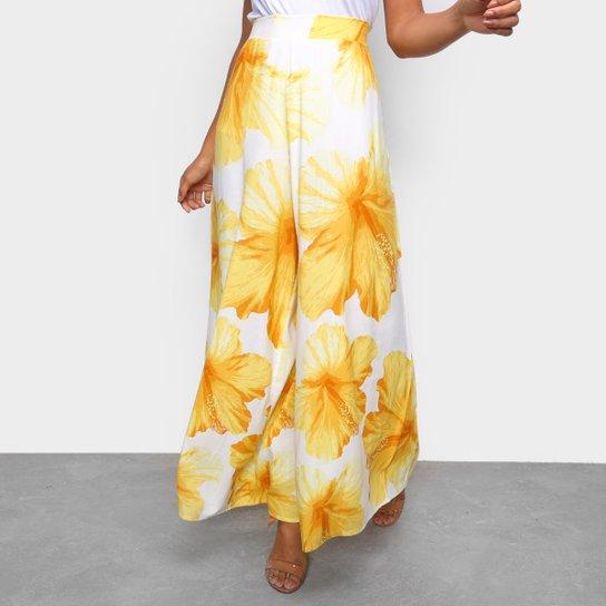 Calça Pantalona Farm Vestida De Flor Feminina - Amarelo