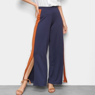 Calça Pantalona Fenda Feminina