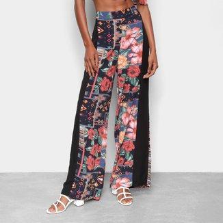 Calça Pantalona Mercatto Estampada Cintura Alta Feminina