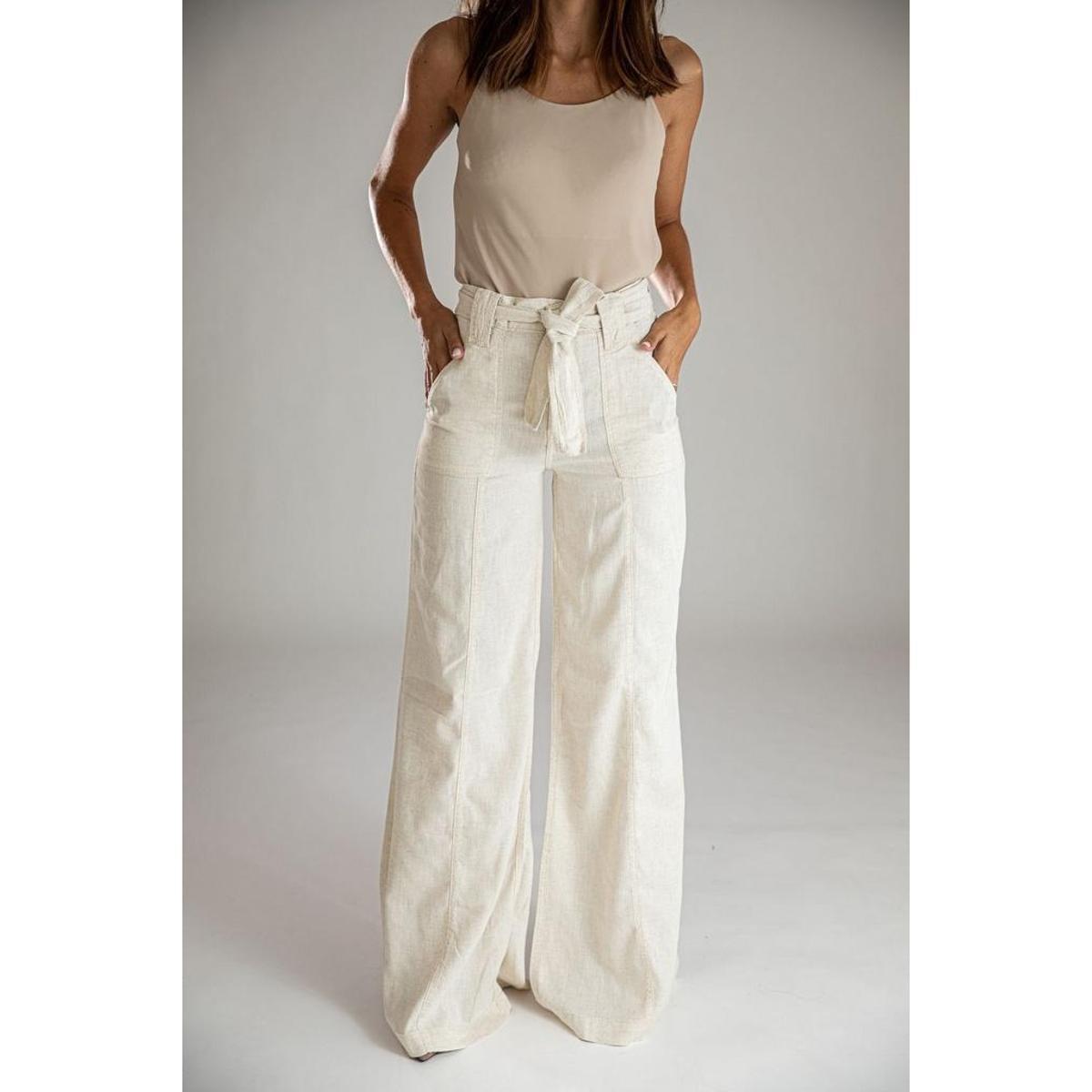 Calça Pantalona Wide Leg Linho Mikonos Santé Denim Feminina