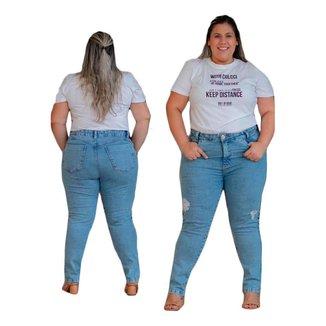 Calça Plus Size Jeans Feminino Skinny Novidade