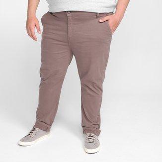Calça Plus Size Slim Fit Ex Adverso Chino Masculina