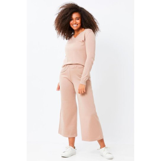 Calça Ralm Tricot Pantalona Pantacourt de Tricot Feminina - Nude