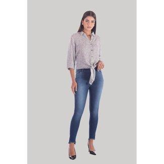 Calça Sisal Jeans Capri Barra Desigual Feminina