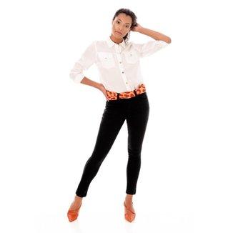 Calça Sisal Jeans Cigarrete Skinny Cetim Feminina