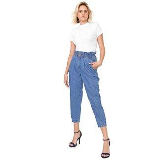 Calça Sisal Jeans Slouchy Elástico Feminina