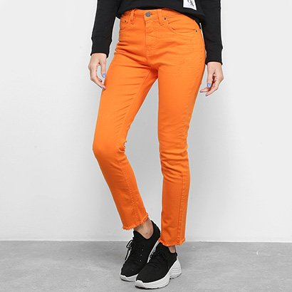 Calça Slim Calvin Klein Color Five Pockets High Rise Feminina