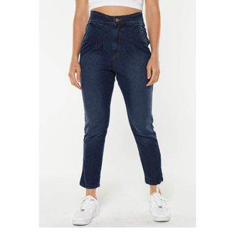 Calça  Sob  Mom Jeans com Pregas Cintura Alta Feminina