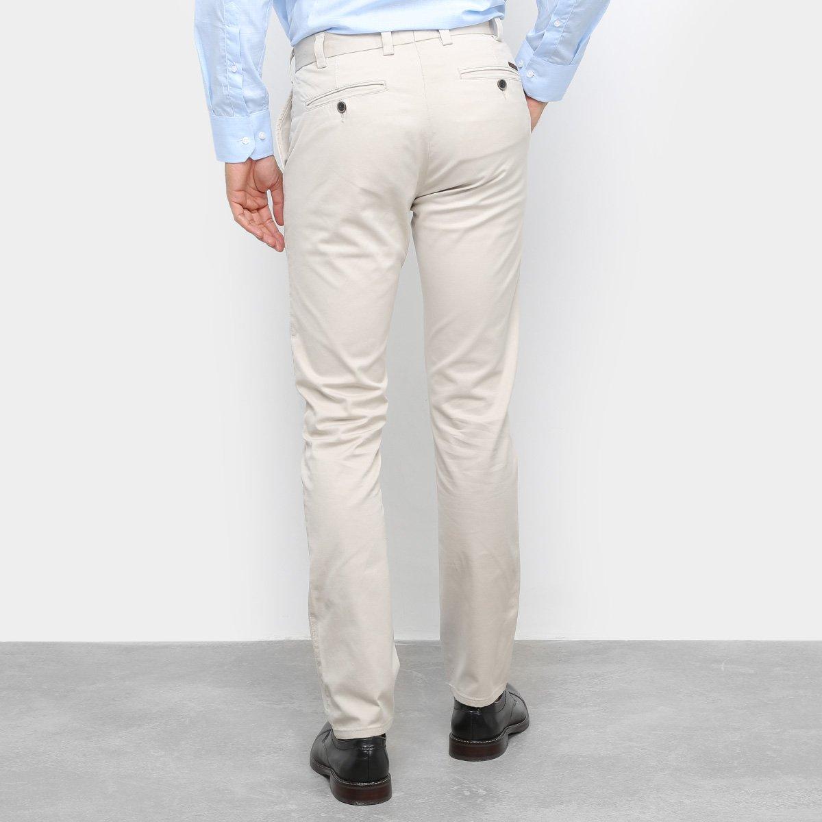 Calça Social Sarja Buckman Acetinada Masculina - Gelo