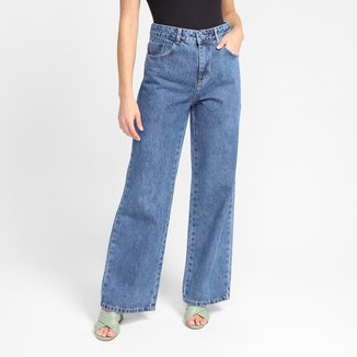 Calça Wide Jeans Sawary Cintura Alta Feminina