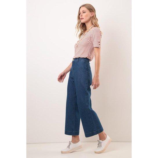 Calça wide leg cropped cintura alta comfort média - Azul