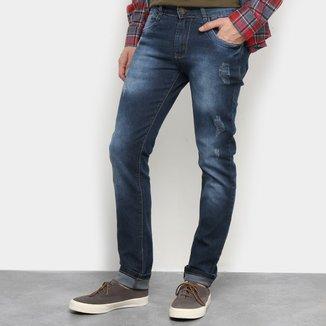 Calças Jeans Skinny Coffee Destroyed Masculina