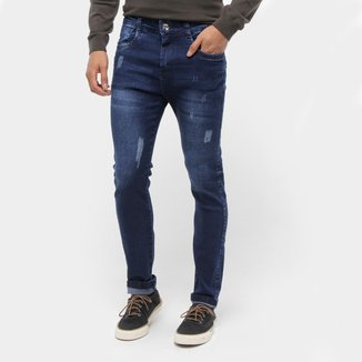 Calças Jeans Skinny Coffee Estonada Masculina