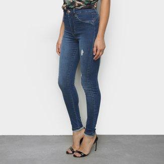Calças Jeans Skinny Sawary Estonada Cintura Alta Feminina