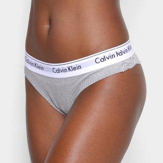 Calcinha Fio Dental Calvin Klein Canelada Renda Feminina