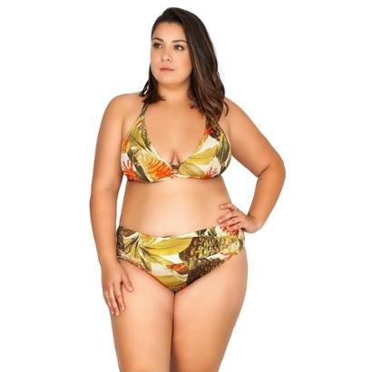 Calcinha Plus Size Detalhe V Estampada Agridoce Feminina