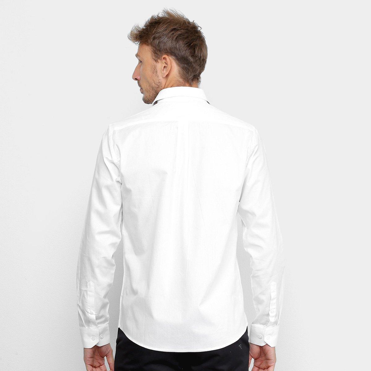 Camisa Acostamento Lisa Manga Longa Masculina - Branco
