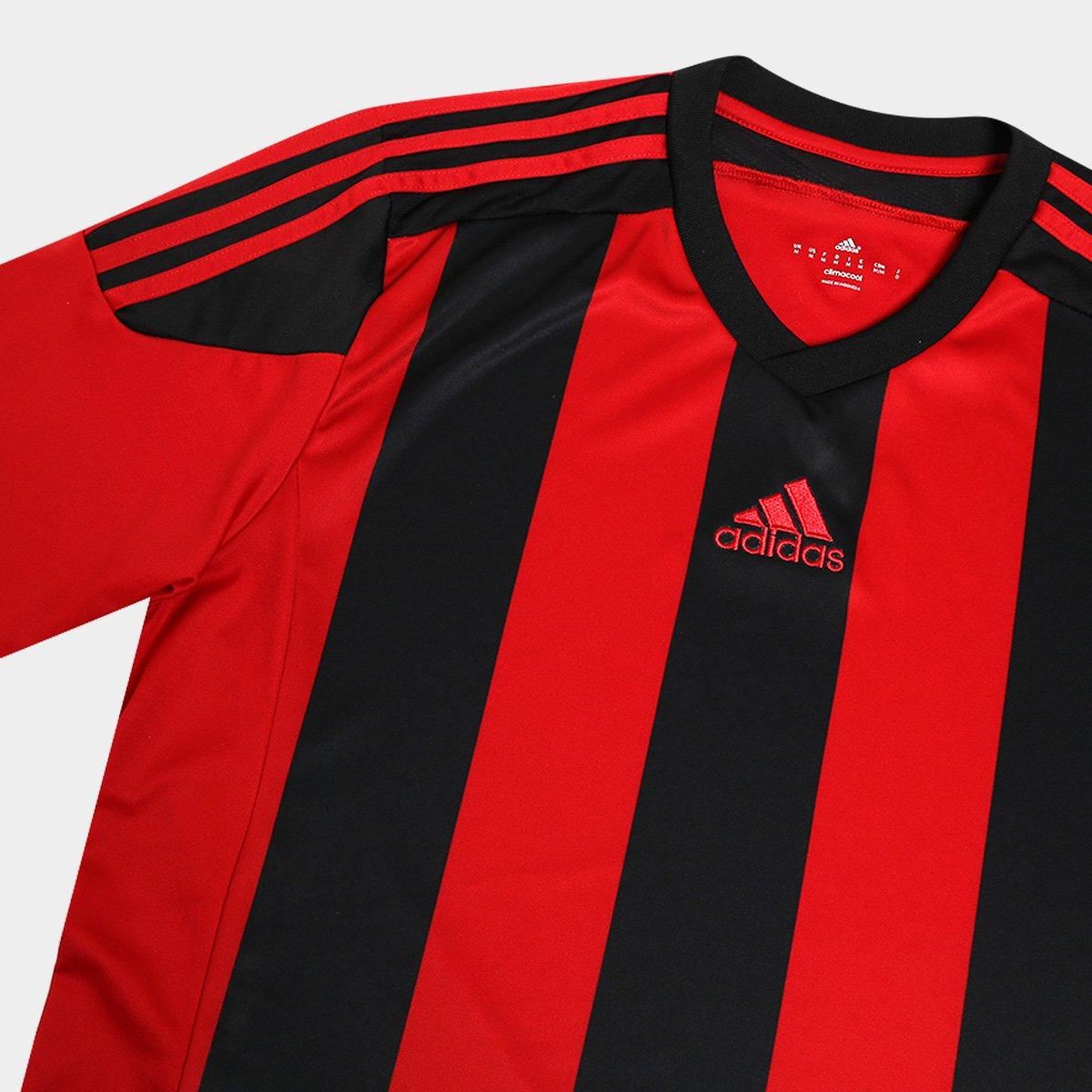 Camisa Adidas Striped 15 Masculina Vermelho e Preto