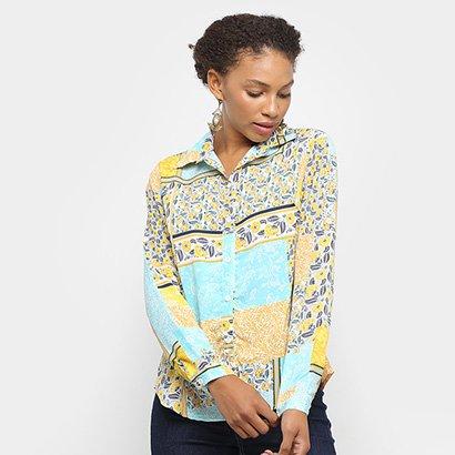 Camisa Adooro! Manga Longa Patch Estampada Feminina