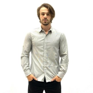 Camisa Aéropostale Manga Longa  Risca Giz  Masculina