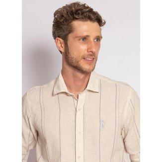 Camisa Aleatory Listrada Linho Masculina