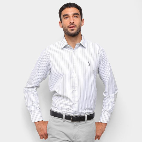 Camisa Aleatory Listrada Masculina - Cinza