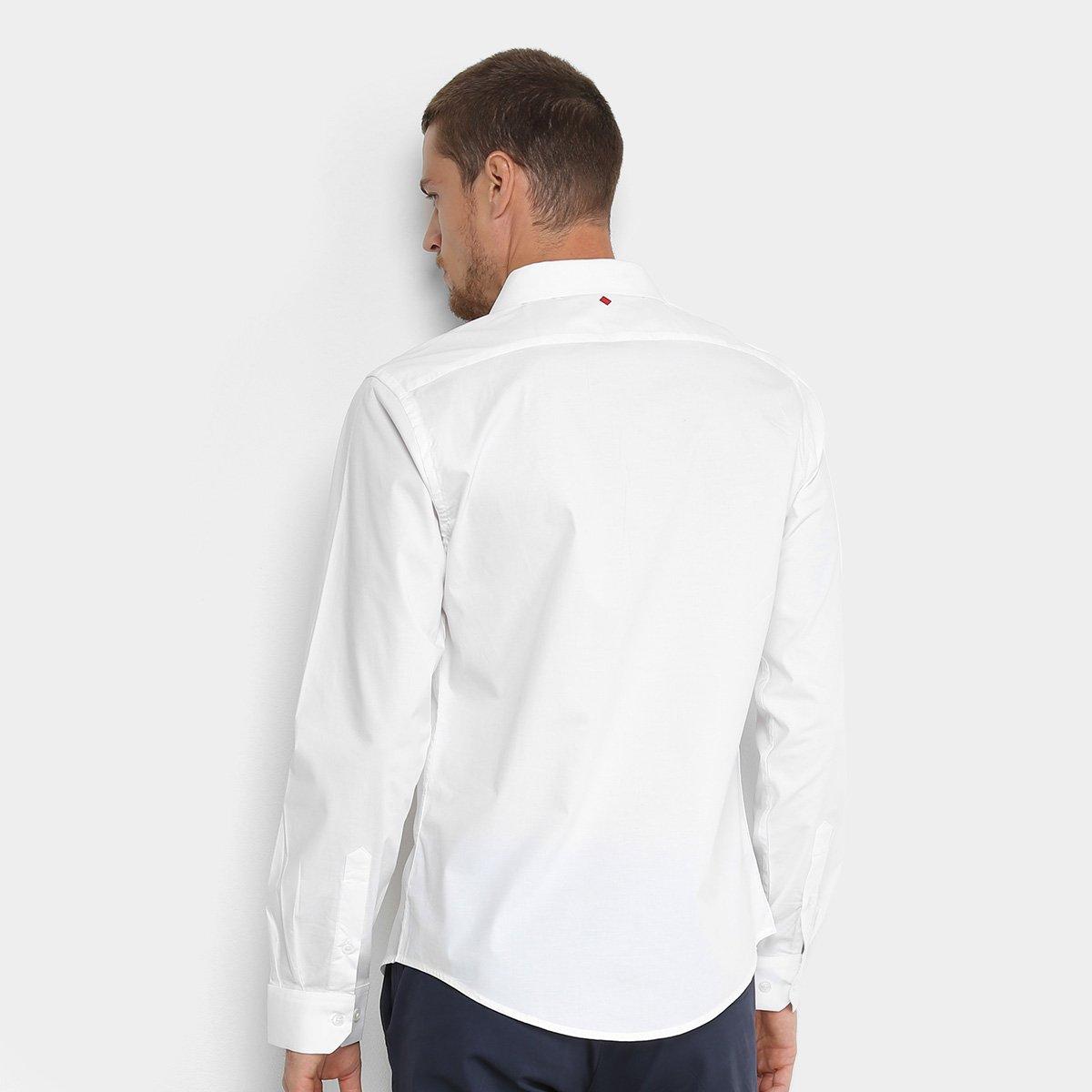Camisa Básica Manga Longa Forum Masculina - Branco