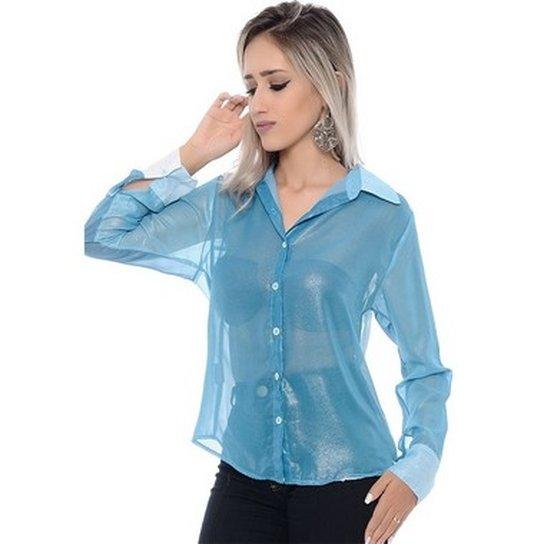 Camisa BBonnie de Chiffon Transparente - Azul Claro