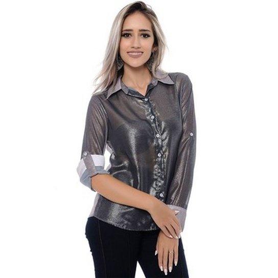 Camisa BBonnie de Chiffon Transparente - Grafite
