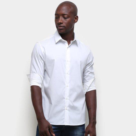 Camisa Calvin Klein Lisa Manga Longa Masculina - Branco
