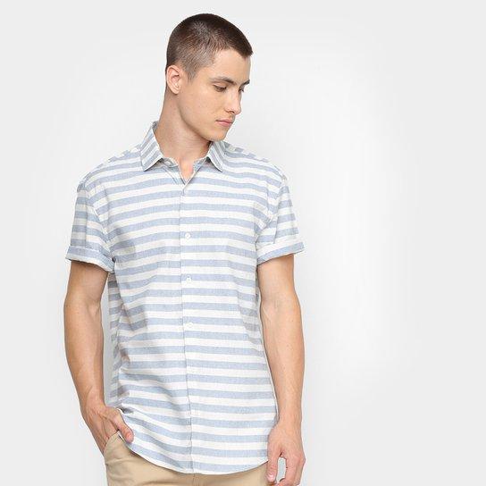 Camisa Calvin Klein Listrada Masculina - Azul Claro