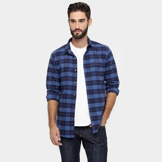 Camisa Calvin Klein Slim Fit Xadrez Flanelado Print Costas