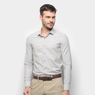 Camisa Calvin Klein Slim Manga Longa Listrada Masculina