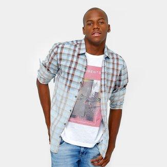 Camisa Calvin Klein Xadrez Marmorizada Stone Masculina