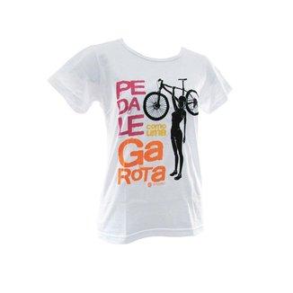 Camisa Casual Baby Look  Pedale Como Uma Garota Feminina