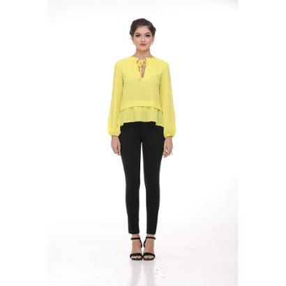 Camisa Clara Arruda Decote Laco Feminina Feminino-Amarelo