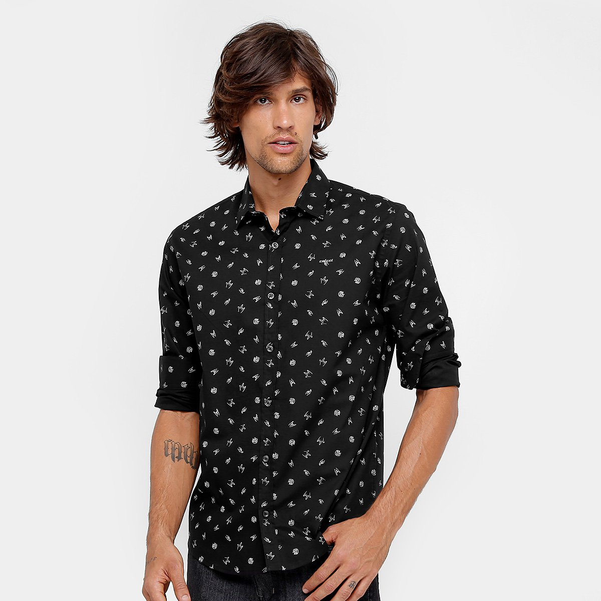 47c1c60ede Camisa Colcci Estampada Manga Longa Masculina - Compre Agora