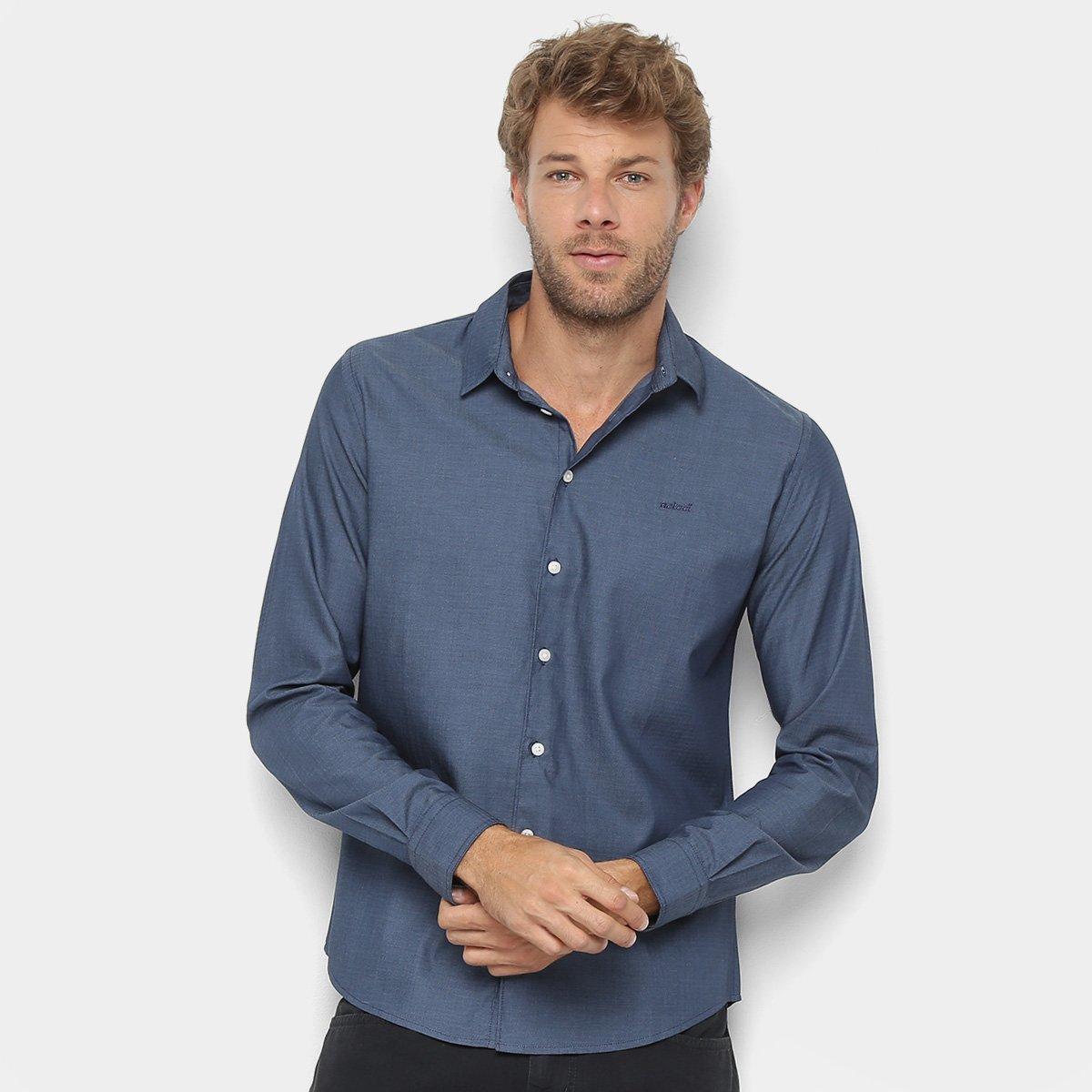 Camisa Colcci Manga Longa Básica Slim Masculina - Azul Escuro ... 8acb150d6e2b2