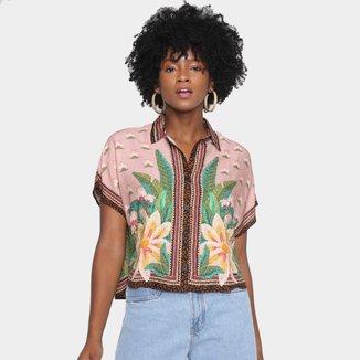 Camisa Cropped Farm Lenço Amazônia Feminina