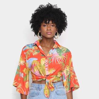 Camisa Cropped Farm Sombra e Água Fresca Feminina
