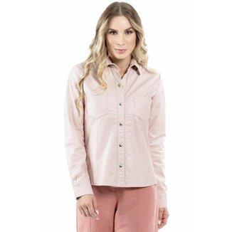 Camisa de Couro Rosa Bebê