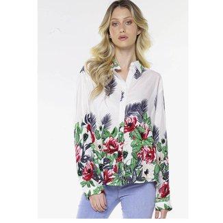 Camisa de Viscose Estampada Floral Oversized Under79 Branca