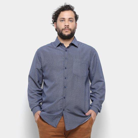 Camisa Delkor Manga Longa Plus Size Masculina - Azul