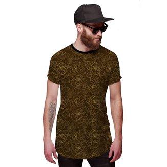 Camisa Di Nuevo Longline Flores Douradas Masculina