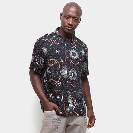 Camisa Ellus Estampada C/Botões Manga Curta Masculina - Preto