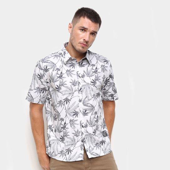 Camisa Ellus Estampada Manga Curta Masculina - Branco