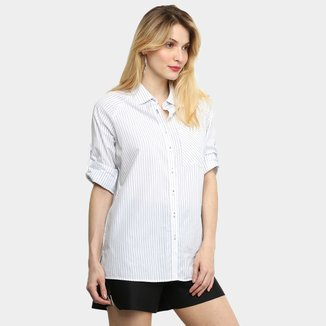 Camisa Ellus Manga Longa Listrada Feminina