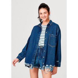 Camisa Em Jeans De Algodão Com Bolso Hering Feminina