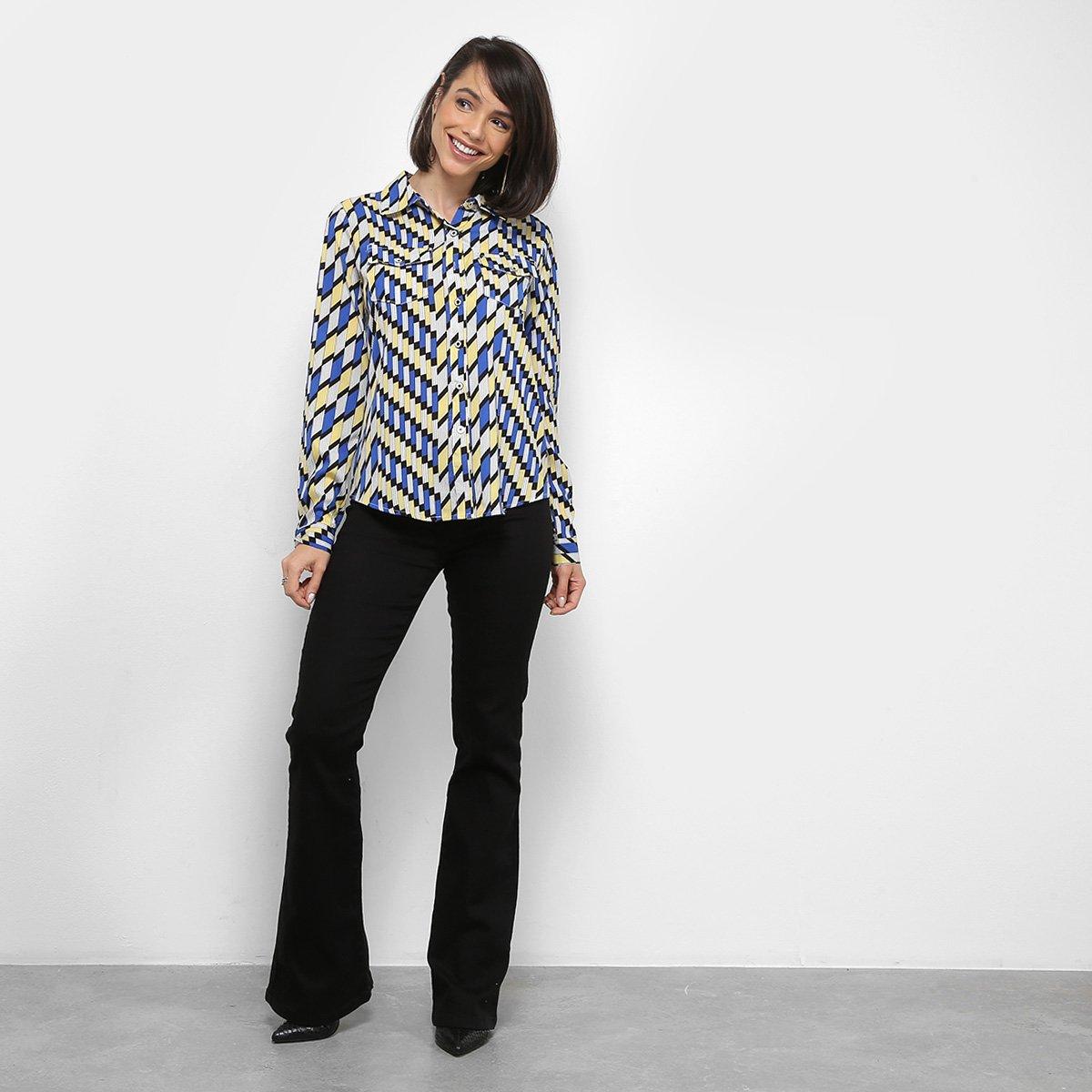 Camisa Extin Manga Longa Estampa Geométrica Feminina - Azul